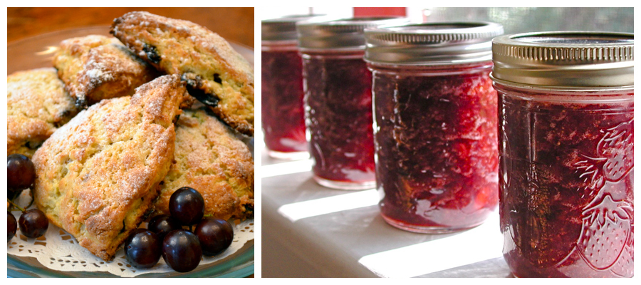 homemade jam and fresh baked scones